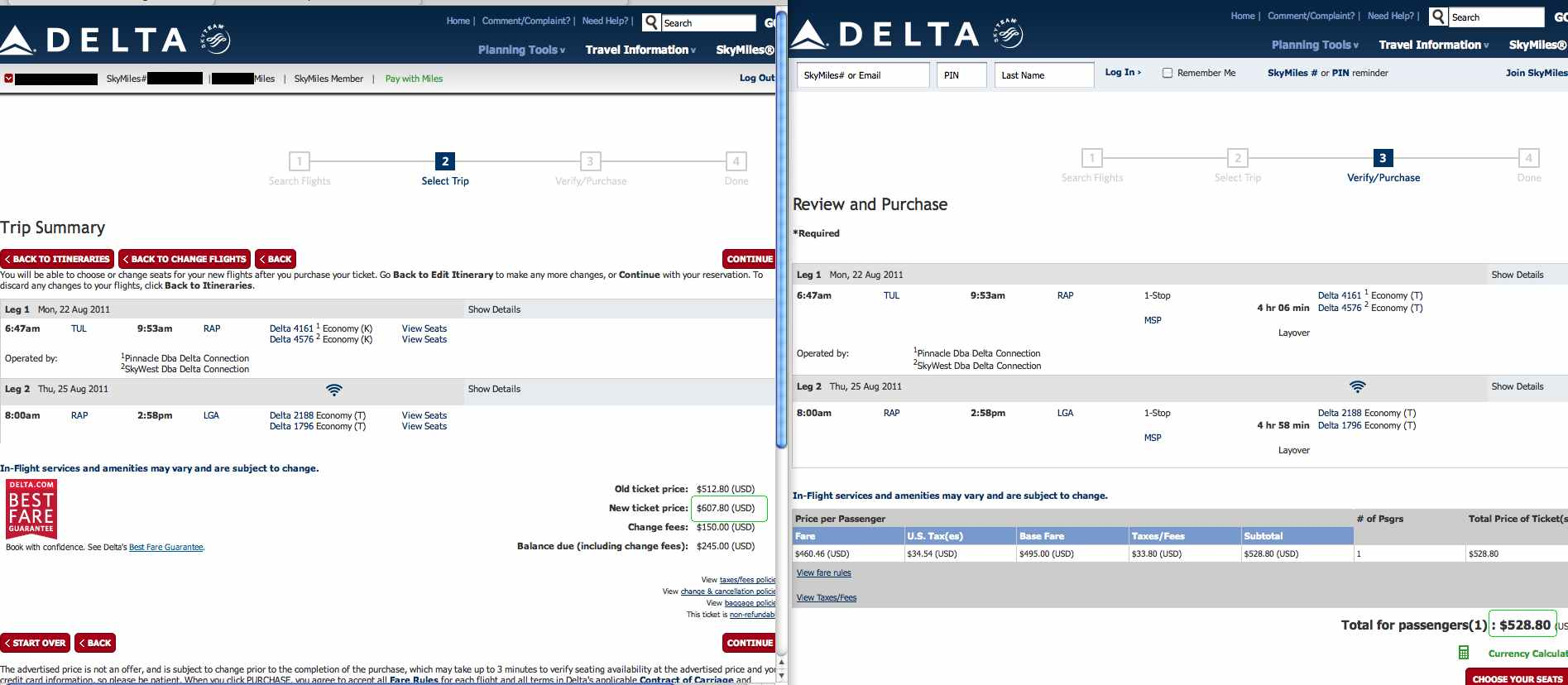 Delta overcharge for SkyMiles members