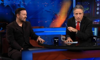 Ricky Gervais and Jon Stewart in an interview