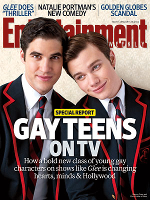 Darren Criss and Chris Colfer from Glee, Entertainment Weekly cover