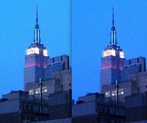 Flash bulb before and after on the Empire State Building