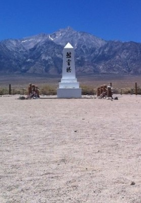 With everything except the central meeting hall in ruins, this memorial has come to stand for Manzanar. June 2013