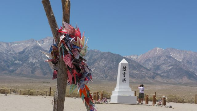 Paper cranes at the memorial for those who never got out of Manzanar alive