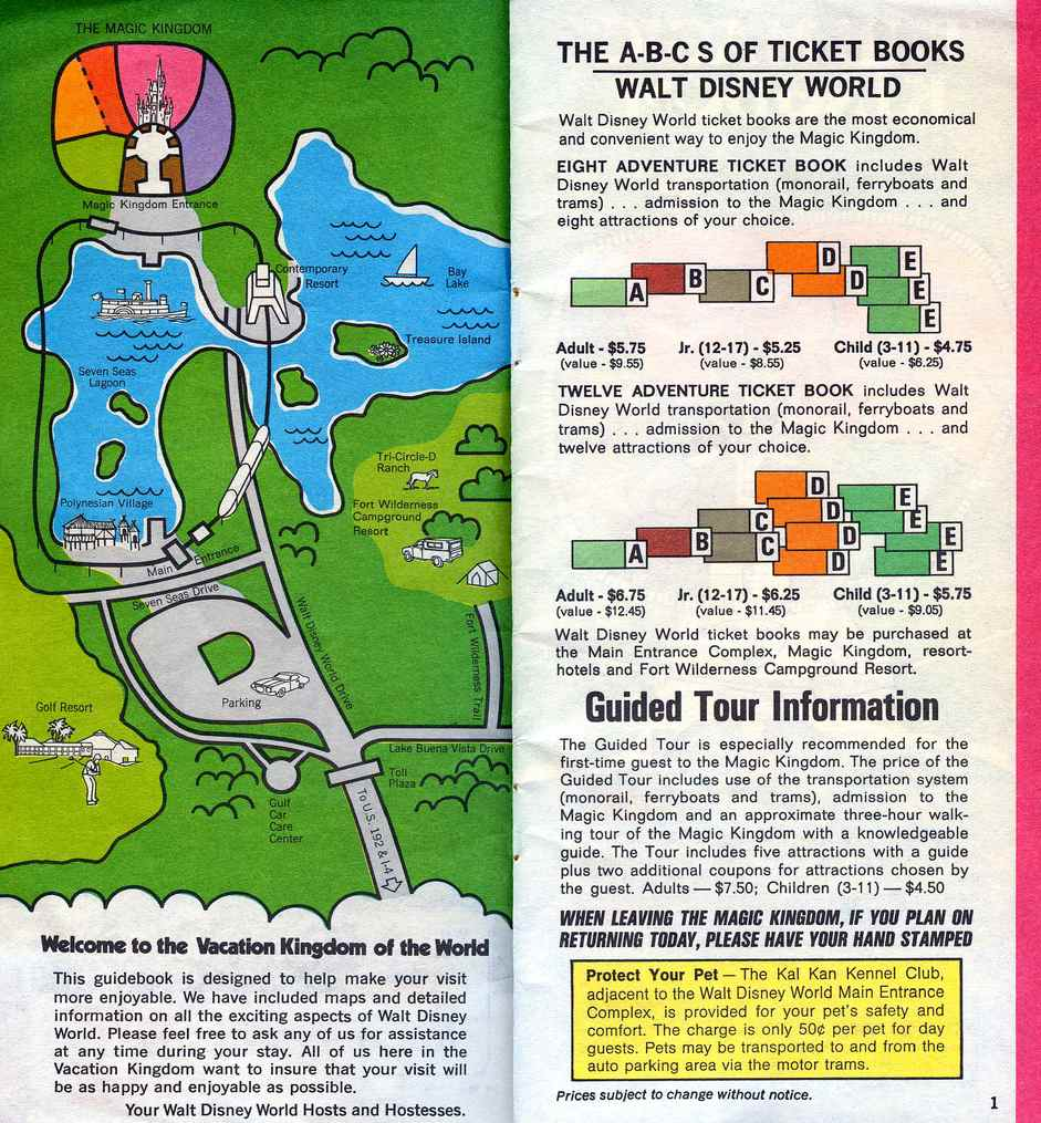 No Space Mountain. No Pirates. Two hotels. Per-ride tickets. This 1972 WDW guide map shows the way I first knew it.