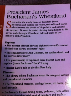 Leaflet at James Buchanan's home takes pains to cast him as a family man and uniter